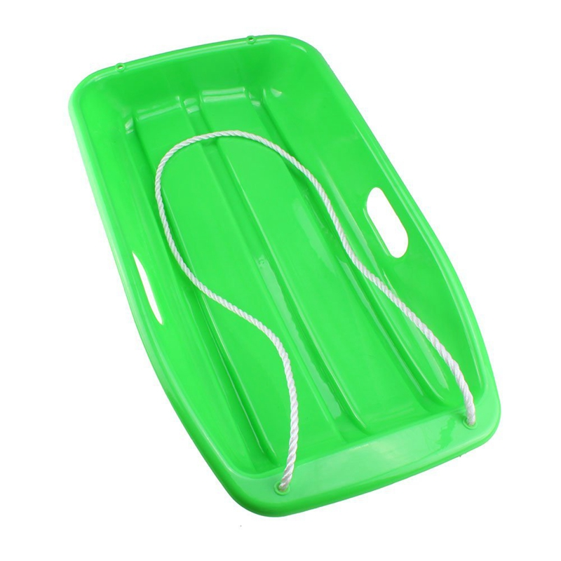NEW-Plastic Outdoor Toboggan Snow Sled For Child Green