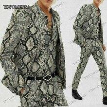 YIWUMENSA Snake Printed Mens 2 Pcs Suits Tuxedos Club Bar Wear Best Man Blazer Smoking Business Fashion Groomsman Jacket Pants