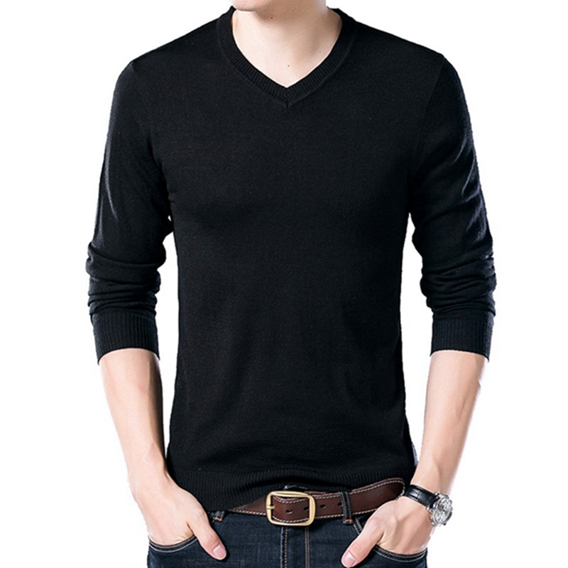 PUI men TIUA осенний Повседневный однотонный базовый Мужской свитер с v-образным вырезом тонкий мужской пуловер вязаный свитер с длинным рукавом мужской свитер размера плюс - Цвет: Black