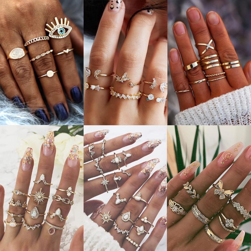 17KM 30 Design Vintage Gold Star Moon Rings Set For Women BOHO Opal Crystal Midi Finger Ring 2020 Female Bohemian Jewelry Gifts