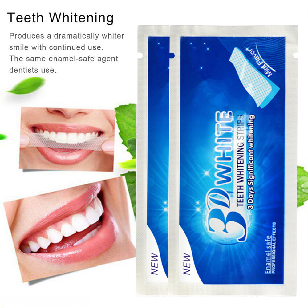 2pcs/bag 3D White Gel Tooth Whitening Strips Oral Hygiene Teeth Cleaning Dry Dental Bleaching Strip Daily Life Easy To Use TSLM2