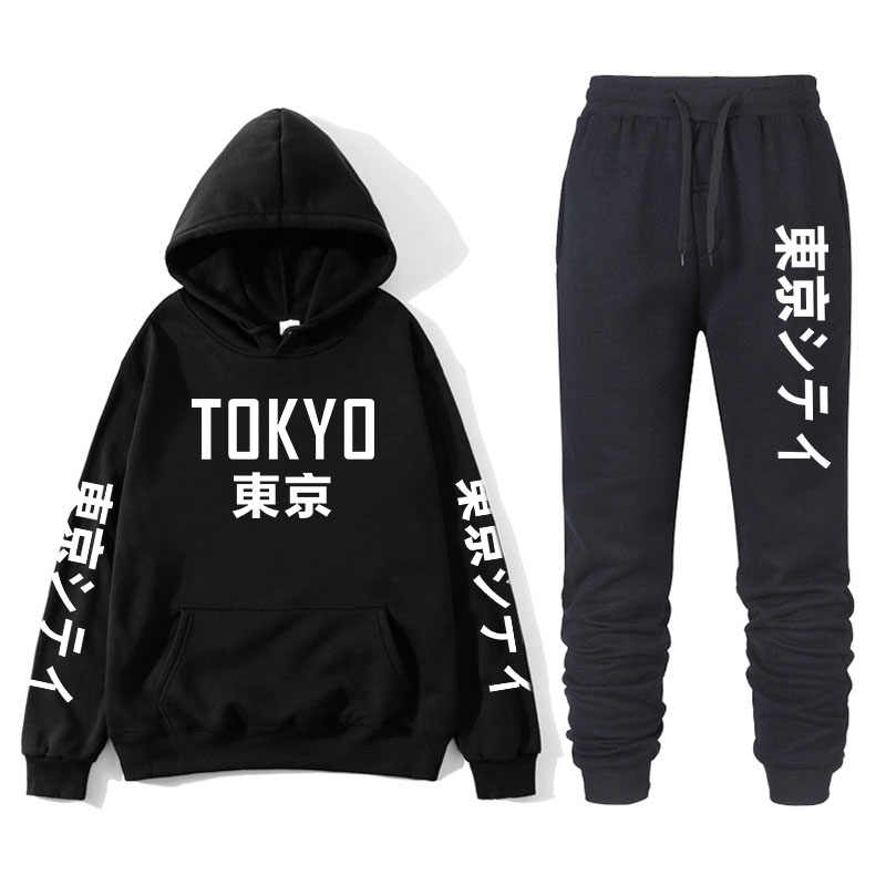 Japanese Street Fashion Printing Men S With Tokyo Bay Hoodie Suit Brand Sportswear Men S Hip Hop Sweatshirt Sports Pants Autum Aliexpress