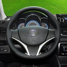 Custom-made Hand-stitch Black leather Car Steering Wheel Covers For Toyota vios