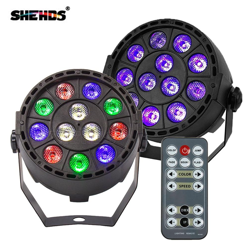 Wireless Remote Control RGBW 12x3W UV Disco Wash Flat Light Equipment 8 Channels DMX 512 LED Uplight Stage Lighting Effect Light 1