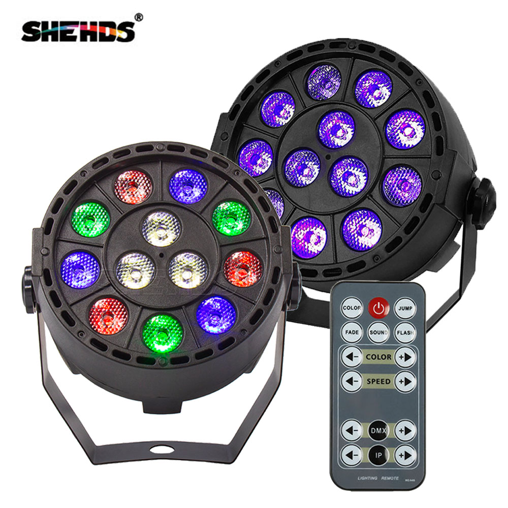 Wireless Remote Control RGBW 12x3W UV Disco Wash Flat Light Equipment 8 Channels DMX 512 LED Uplight Stage Lighting Effect Light