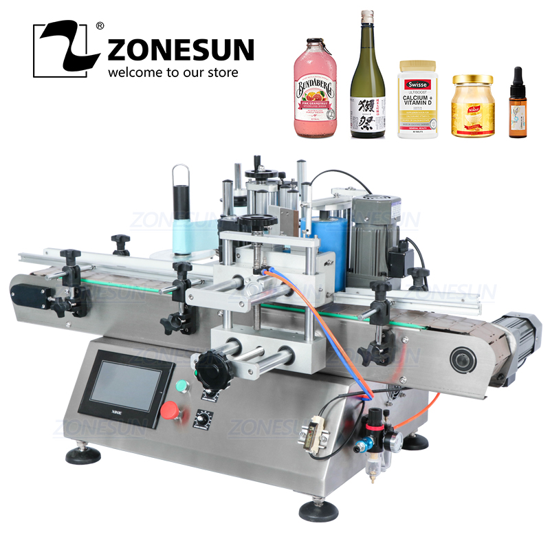 ZONESUN TB-500 Sticker Liquid Soap Automatic Water Bottle Labeling Machines Label Applicator With Date Coder