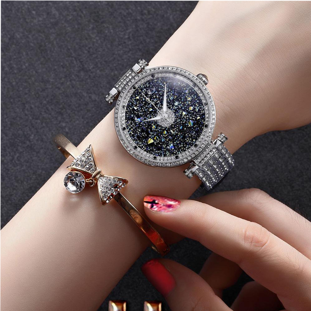 PB Women Watches Starry Sky Dial Watch Women Rhinestone Crystal Silver Chain Strap Waterproof Quartz Luxury Relogio Feminino