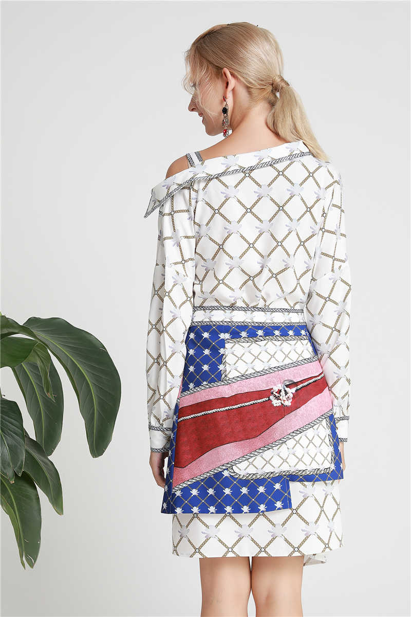 Truevoker европейские дизайнерские платья женские высококачественные длинные рукава с открытыми плечами печатных поясом сексуальные вечерние Vestidoes
