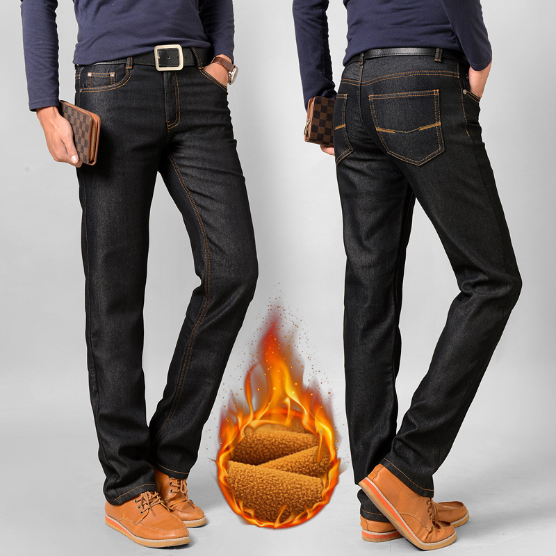 Men Elasticity Jeans Brushed And Thick Straight-leg Pants Korean-style Fashion Medium Waist Versitile Fashion Long Pants