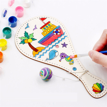2PCS Wooden Racket Game Drawing Toy DIY Mixed Pattern Board  Art Painting Montessori Teaching Aids Doodle Craft Children Toys flyingtown montessori teaching aids balance scale baby balance game early education wooden puzzle children toys