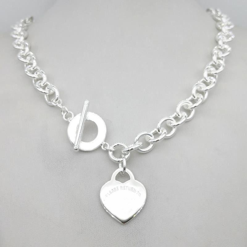 Argent Sterling 925 classique mode argent coeur tag pendentif dames collier bijoux cadeau de vacances