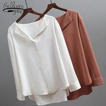 2021 Fashion Long Sleeve Chiffon Blouse Women Brown White Shirts Tunics for Women Office Style Silk Shirt Woman Blouse 5104 50