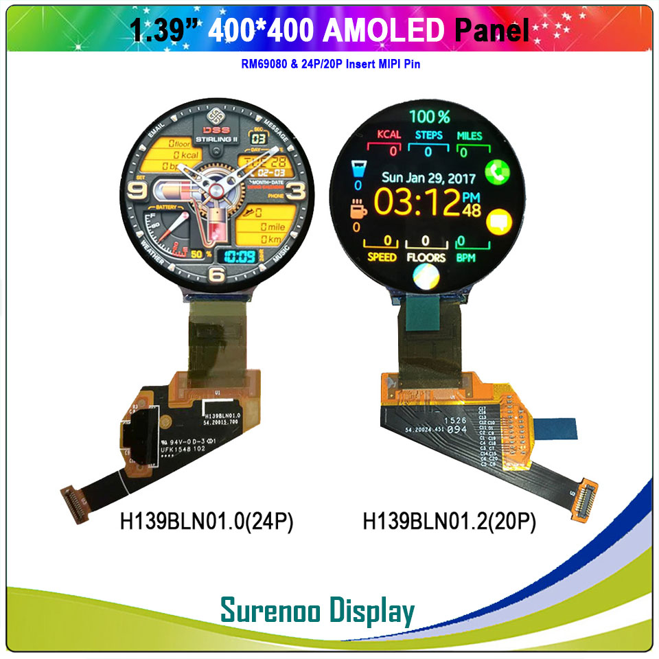 """Real AMOLED Display, 1.39"""" Inch 400*400 Round Circle Circular OLED LCD Module Screen With MIPI Interface RM69080"""
