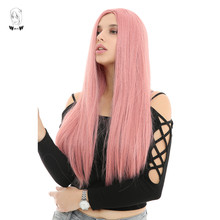 WHIMSICAL W 26 inch Long Straight Pink Color Wigs Natural Middle Part