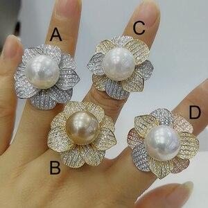 Image 2 - Godki luxo grande imitação pérola flor bold anéis de afirmação com pedras zircão 2020 festa noivado feminino jóias alta qualidade