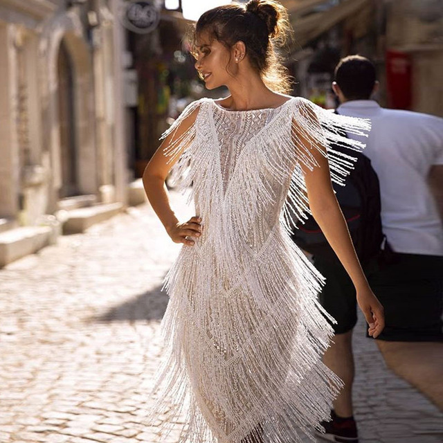 Summer White Lace Tassle Gatsby Dress Women Elegant O Neck Sleeveless Sexy Backless Bodycon Mini Clubwear Party Dress 2020