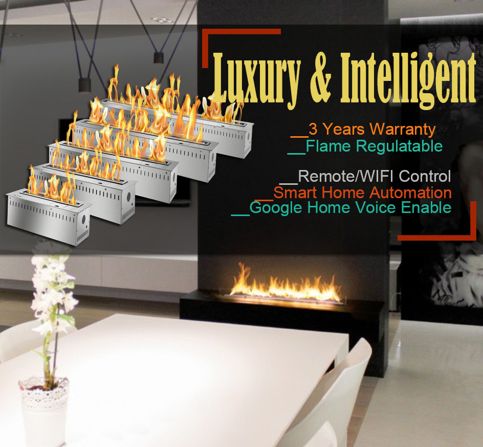 Hot Sale 60 Inches Luxury Alcohol Burner Stainless Steel Remote Ethanol Burner Insert