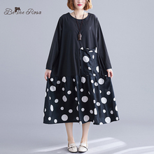 BelineRosa European Casual Style Loose Shirt Dresses Polka Dot O Neck Long Sleeve T-shirt Dress Female  XE000098 цены