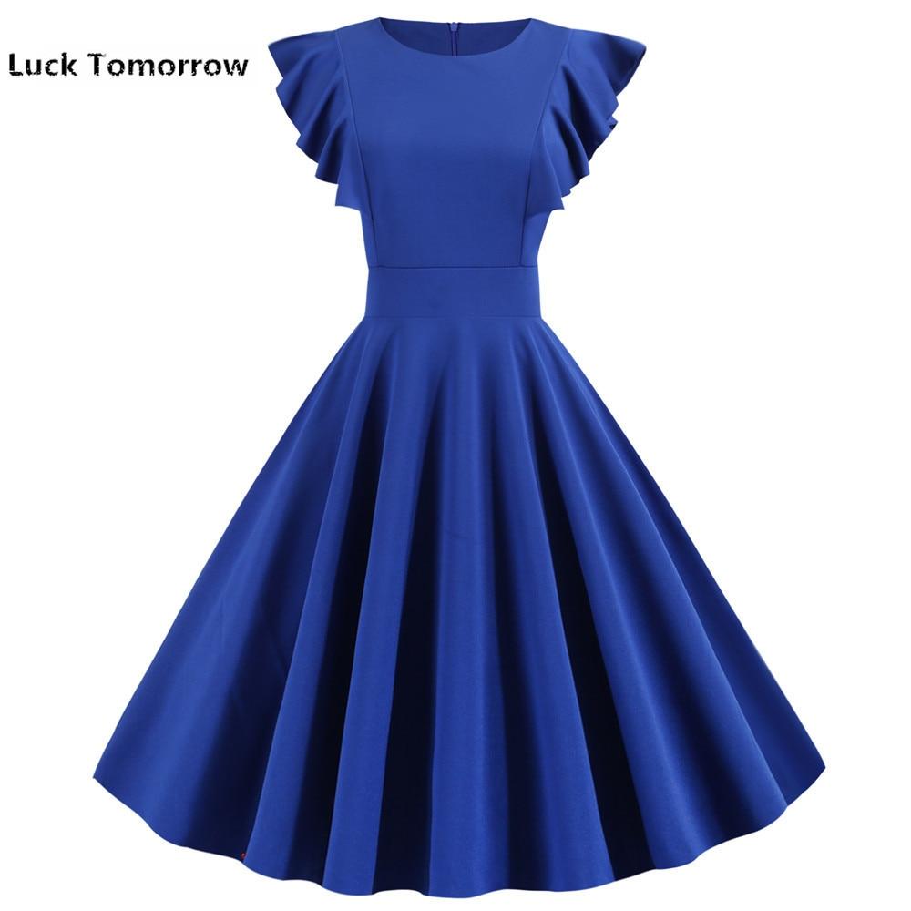 Женское винтажное платье средней длины, фиолетовое однотонное платье в стиле 50-60-х годов с рукавами-лепестками, элегантное офисвечерние и в...