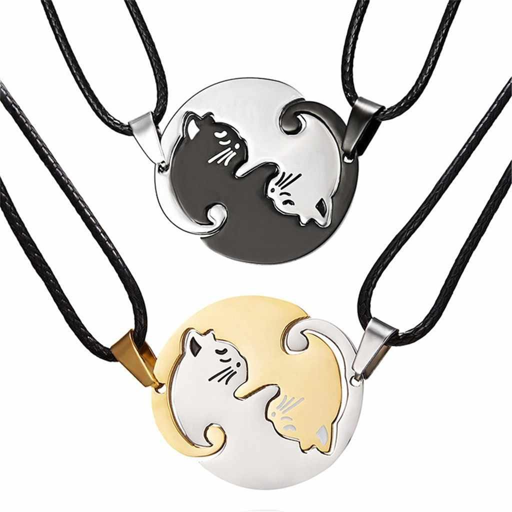 คู่รอบจี้สร้อยคอสัตว์สีดำสีขาวแมวโลหะผสมทองเหรียญยาวจี้สร้อยคอไทเทเนียมเครื่องประดับ