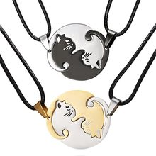 Couple Round Pendant Necklace Animal Black And White Cat Alloy Gold Coin Long Pendant Titanium Steel Necklace Collar Jewelry(China)