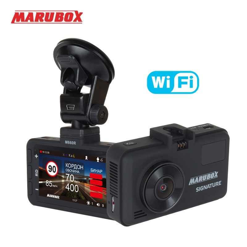 Marubox M660R Wifi araba dvr'ı Radar dedektörü GPS 3 in 1 Dash Cam HD2560 * 1440P 170 derece açı rus dil Video kaydedici
