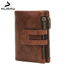 AURAY Vintage Short Mens Wallet Leather Genuine Men Wallets Leather Brand Male Coin Money Purse Luxury Zipper Card Holder Wallet