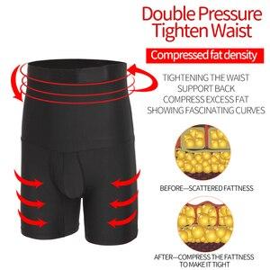 Image 5 - Homens compressão shorts corpo shaper cintura trainer barriga controle emagrecimento shapewear modelagem cinto anti atrito boxer roupa interior
