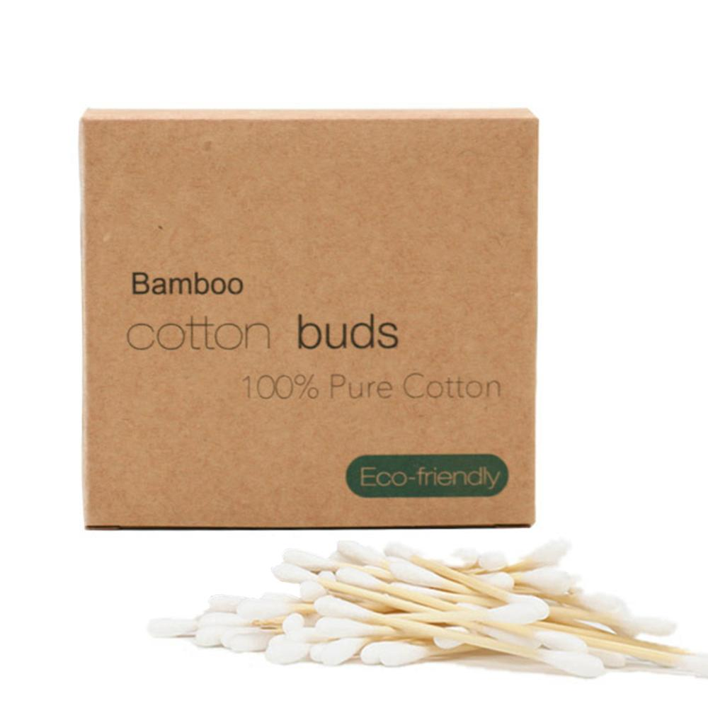 Double Head Bamboo Cotton Swab Disposab Cotton Buds Recyclable Degradable Swab Stick For Eye  Nose Ears Clean Care Tools