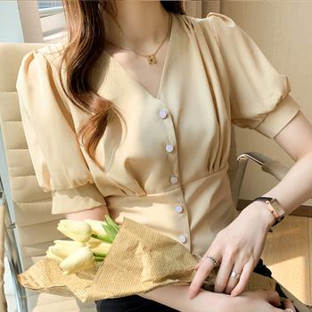 Blusas bluzki Femme Top z krótkim rękawem bluzka kobiety Blusas Mujer De Moda 2021 dekolt szyfonowa bluzka koszula topy koszule damskie E924 tanie i dobre opinie BONJEAN CN (pochodzenie) POLIESTER Z OCTANU REGULAR guzik Lato 2021 średniej wielkości Z szyfonu Proste women blouses