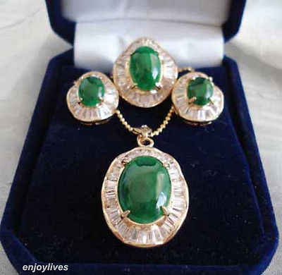 FREIES VERSCHIFFEN >>@> Freies Emerald Green Jade 18KGP Zirkonia Anhänger Halskette Ohrringe Ring Set Natürliche schmuck
