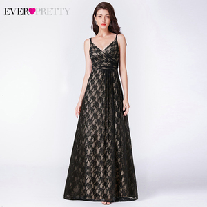 Image 3 - Ever Pretty Black Lace Long Evening Dresses A Line V Neck Sleeveless Spaghetti Straps Black Evening Gowns Vestido Formal Mujer