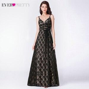 Image 3 - אי פעם די שחור תחרה ארוך ערב שמלות אונליין צווארון V שרוולים ספגטי רצועות שחור ערב שמלות Vestido פורמליות Mujer