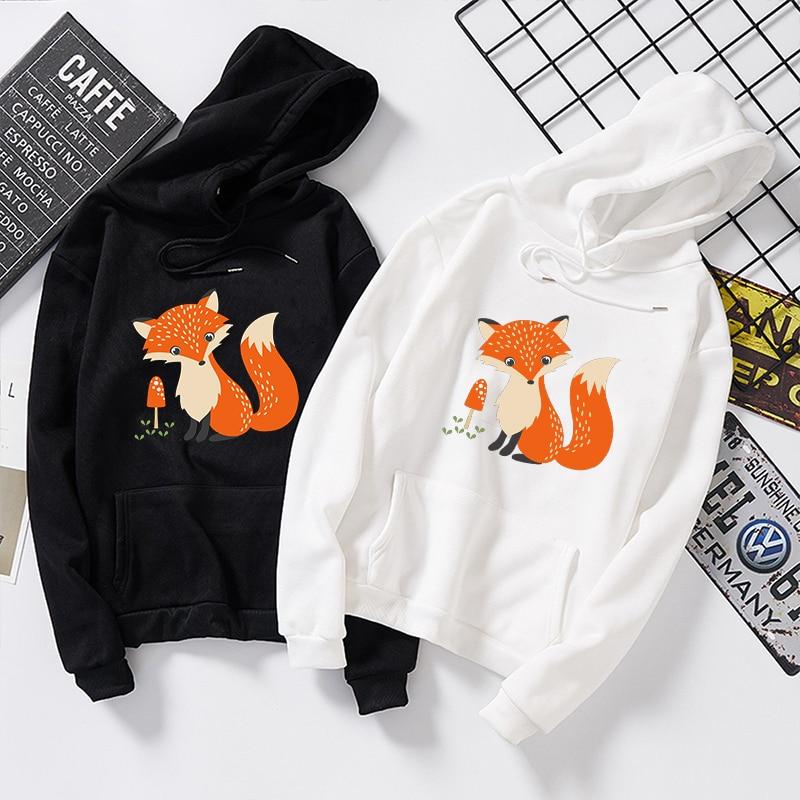 Japanese Women Harajuku Autumn Hooded Sweatshirts Womens Cute Fox Print Plus Velvet Loose Long Hoodies Tops Streetwear Pullovers