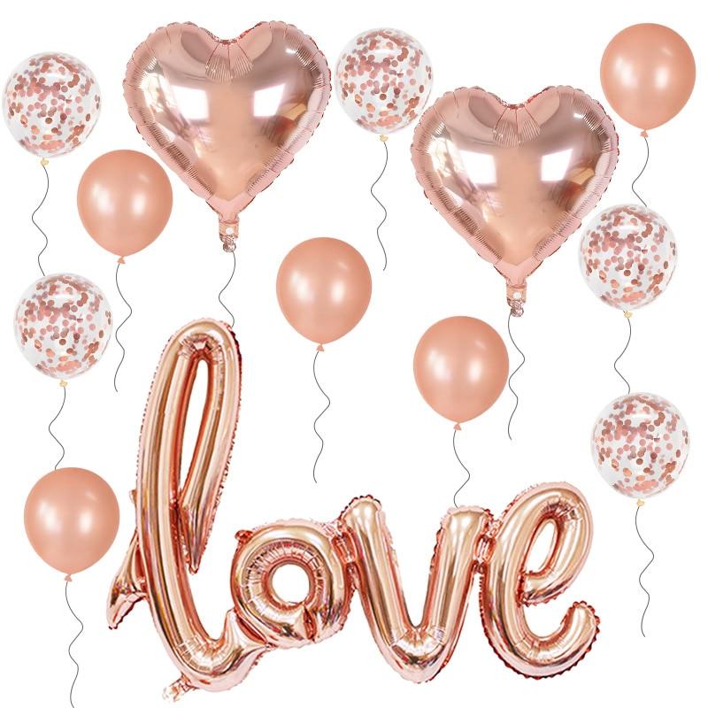 13 шт./компл. фольгированные воздушные шары с сердечками, розовые, золотые, серебряные, красные, латексные шары с конфетти, романтичное свадеб...