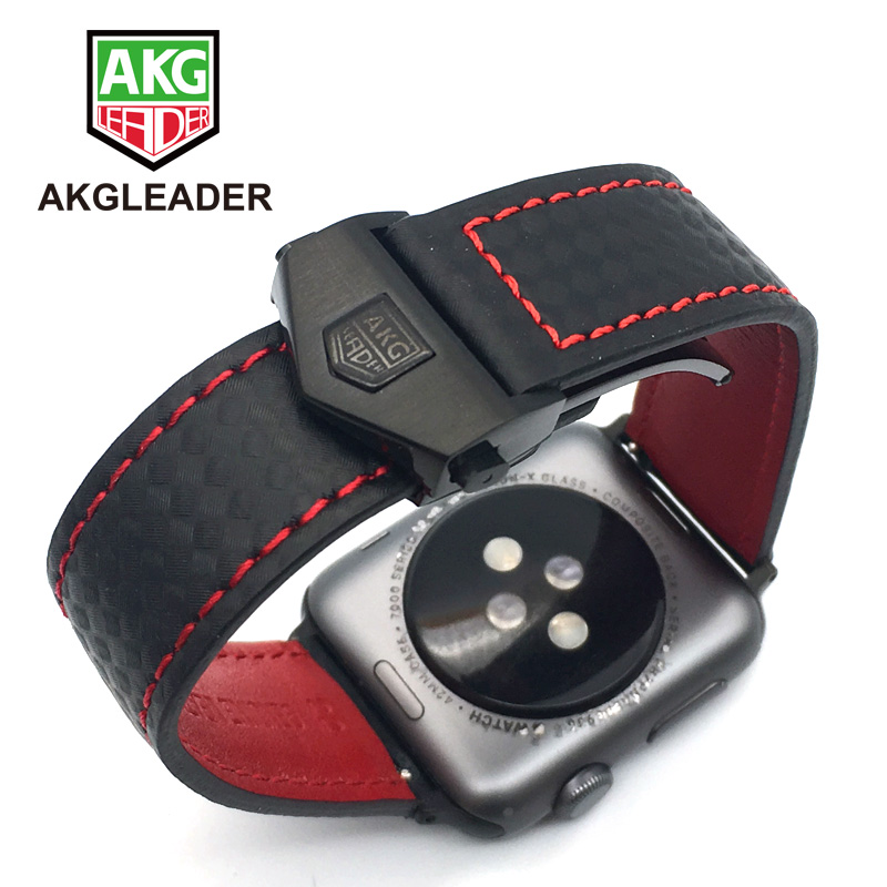 AKGLEADER Carbon Fiber Genuine Leather Watch Strap Band For Apple Watch Series 4 5 40mm 44mm Series 3 2 Wrist Bracelet 38mm 42mm