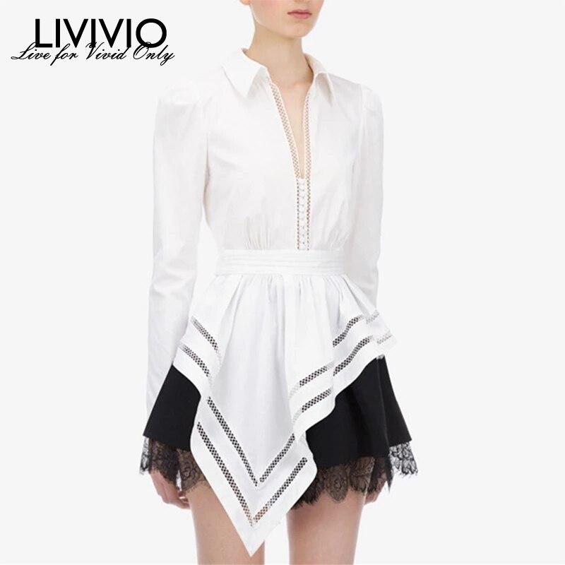 [LIVIVIO] Lace Patchwork Women's Shirt V Neck Long Sleeve Tunic Irregular Hem Blouses Female 2019 Fashion Clothing New