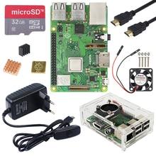 Kit Raspberry Pi 3 modèle B Plus avec WiFi et Bluetooth + adaptateur secteur 3A + boîtier acrylique + refroidisseur + câble HDMI pour Raspberry Pi 3B +