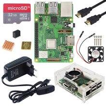 Raspberry pi 3 modelo b plus kit com wifi & bluetooth + 3a adaptador de alimentação acrílico caso cooler cabo para raspberry pi 3b +