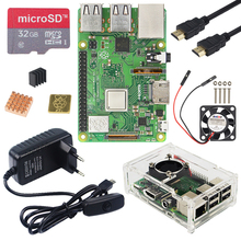 Raspberry Pi 3 Model B Plus Kit Met Wifi & Bluetooth + 3A Power Adapter + Acryl Case + Koeler + Kabel Voor Raspberry Pi 3B +