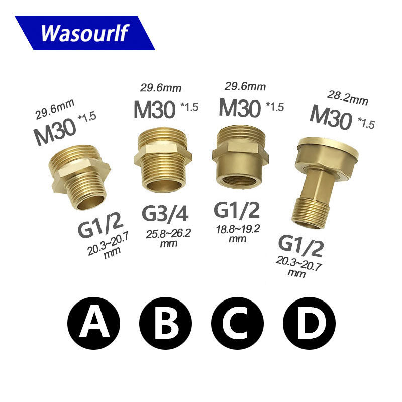 WASOURLF Adapter M30 Male Thread Transfer G1/2 3/4 Connector Shower Bathroom Kitchen Brass Material Faucet Pipe Accessories