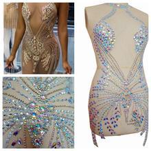 Fatti a mano strass applique patch sew on sereno AB pietre di cristallo di colore completo del corpo per il vestito accessori