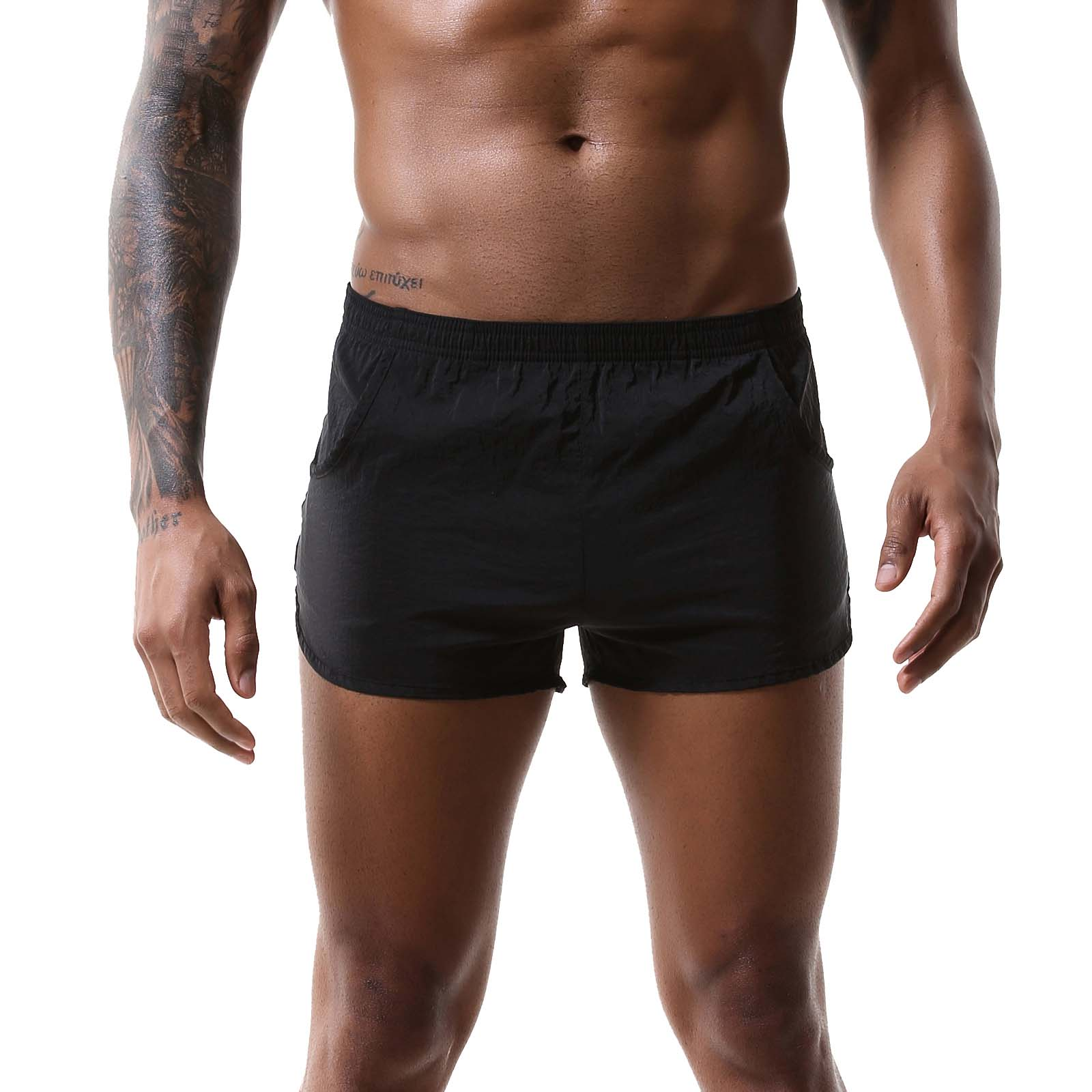 Swimwear Mens Swimsuit Solid Color Quick-drying Surfing Swimming Trunks Beachwear Low Waist Boxers Shorts with Pockets