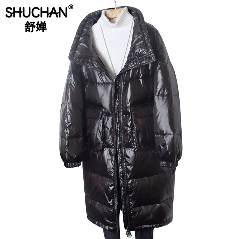 Shuchan Women's Down Jacket 2019 Wide-waisted White Duck Down Thick Winter Jacket for Women Loose Womens Down Coats