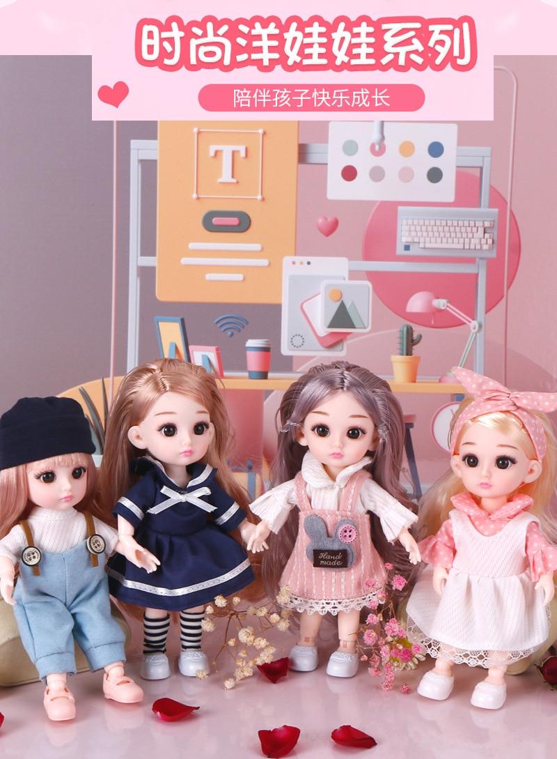 Muñecas articuladas movibles de 16cm, juguetes 3D de ojos grandes, pelo largo BJD, muñeca de maquillaje, vestido infantil de niña, barbi de fiesta. Princesas muñecas nuevo| |   - AliExpress