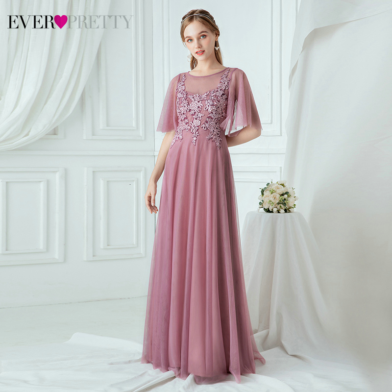 Dusty Pink Prom Dresses Ever Pretty EP00747OD Appliques Ruffles Sleeve A-Line O-Neck Tulle Long Party Gowns Gala Jurken Dames