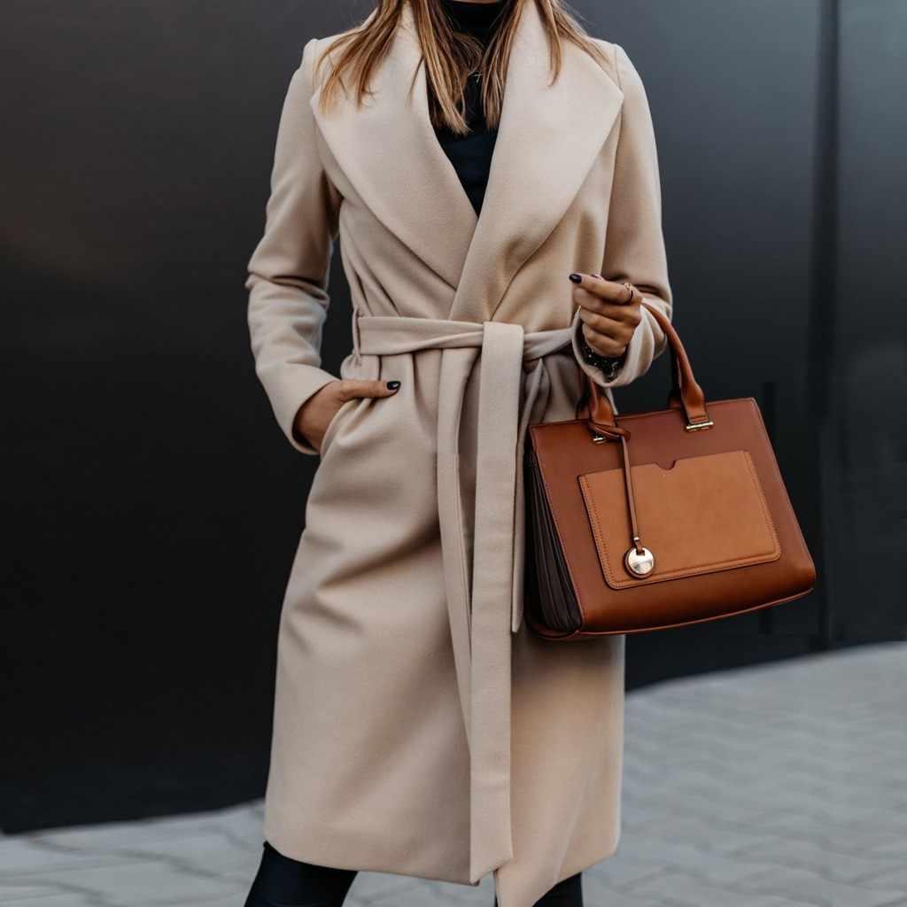 Nieuwe Dunne Wol Blend Coat Vrouwen Solid Lange Jas Lange Mouw Harige Open Voorzijde Uitloper Casual Herfst Winter Elegante Overjas