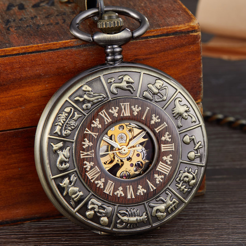 Vintage Number Dial Mechanical Pocket Watch Wood Circle Carved Men Unique Hollow Steampunk Bronze Mechanical Clock Watches Chain