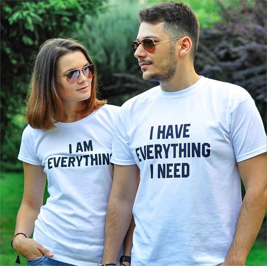 Women T Shirt Matching Tshirt I Have Everything I Need I AM Everything Letter Print Summer Couples Lovers T-shirt Casual Top