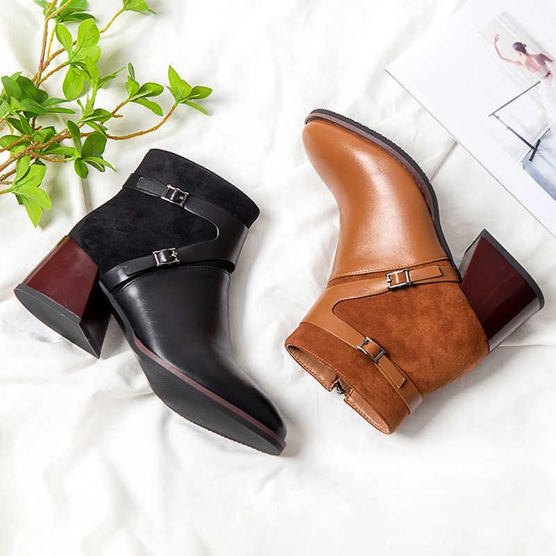 2019 hiver noir marron femmes bottines Western Cowboy bout pointu 4CM bloc talons hauts chaussures dames chaussons Zapatos De Mujer